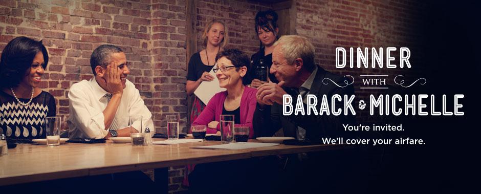Un'immagine con cui Obama promuove la lotteria per la raccolta fondi: in premio una cena con il Presidente e la first lady