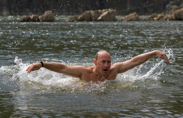 Putin swimming (Reuters/RIA Novosti)